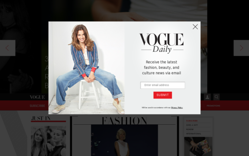 Access vogue.com using Hola Unblocker web proxy