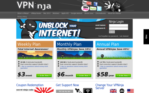 Access vpnninja.com using Hola Unblocker web proxy