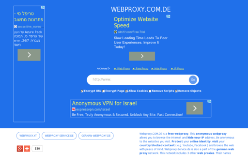 Access webproxy.com.de using Hola Unblocker web proxy