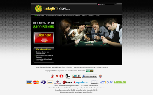 Access www.luckyacepoker.com using Hola Unblocker web proxy