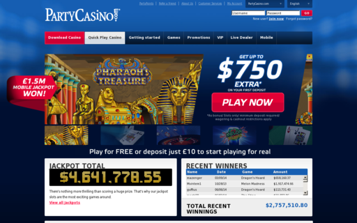 Access www.partycasino.com using Hola Unblocker web proxy
