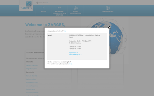 Access zarges.com using Hola Unblocker web proxy